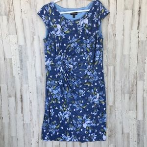 Connected apparel blue floral dress 16W